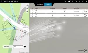 Vue générale du relevé d'appuis, la fonctionnalité FiberScript de déploiement du réseau aérien