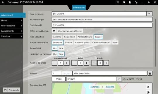 Vue générale du relevé de BAL, la fonctionnalité FiberScript de relevé d'adresses