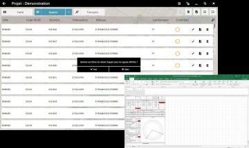 Vue fiche appui de la fonctionnalité FiberScript de déploiement du réseau aérien