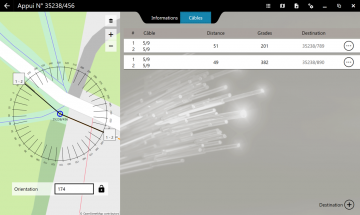 Vue passage des câbles de la fonctionnalité FiberScript de déploiement du réseau aérien