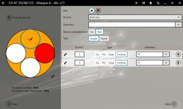 Vue repérage des alvéoles de la fonctionnalité FiberScript de déploiement du réseau souterrain