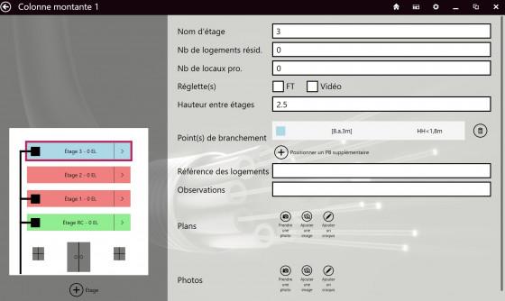 Vue générale fonctionnalité FiberScript dédiée à la saisie des fiches immeubles
